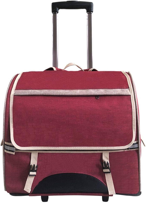 Qi Peng Pet BagPet Trolley Case Cat Bag Dog Out Trolley Bag Cat Portable Backpack Backpack Cage Pet Bag (color   B)