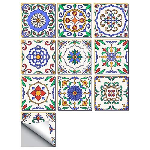 Leileixiao 10 pegatinas autoadhesivas de 20 x 20 cm, de PVC, a prueba de aceite, impermeable, para cocina, baño, decoración del hogar (color: 04)