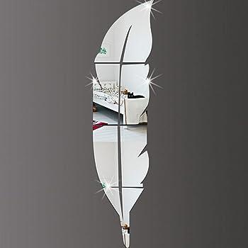 Decorazione da Muro per Casa Linian Adesivo Murales a Specchio a Forma di Piuma