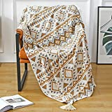 Navajo Throw Blanket, Boho Knitted Tassel Vintage Throw Blankets, Soft Lightweight Farmhouse Decorative Throw Blanket for Sofa Couch Bed and Living Room- All Seasons (50x60 Inch)