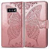 Roar Handyhülle für Samsung Galaxy S10e Hülle, Premium PU Leder Flip-Hülle Handy-Tasche Schutz-Hülle für Samsung Galaxy S10e, Rose-Gold
