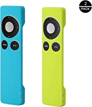 Rukoy Protective Case for Apple TV 2 3 Remote Controller(2 Pack:Blue+Green), Light Weight and Shock Proof Silicone Remote Case with Hand Strap
