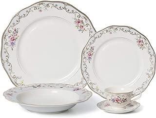 Royalty Porcelain 20-pc Dinner Set for 4, 24K Gold, Premium Bone China Porcelain (Romantic Bloom)
