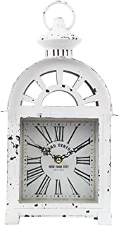 Lily's Home Vintage Inspired Lantern Grand Central New York City Train Station-Style Mantle Clock, Battery Powered with Quartz Movement, Fits with Victorian or Antique Décor Theme (13 3/4