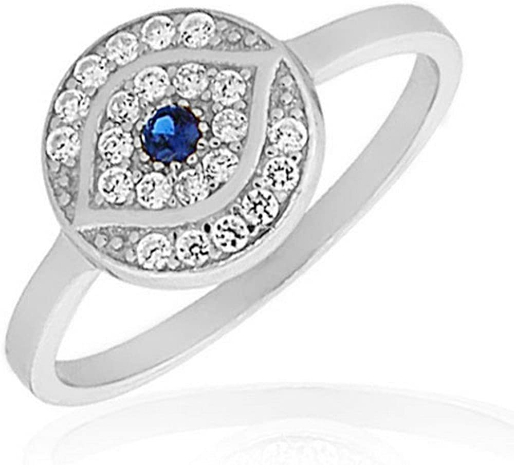 925 Sterling Silver White Ranking TOP13 Blue CZ Evil Ring Protection Eye Band 100% quality warranty!