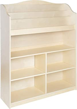Guidecraft 3-Shelf Wooden Waterfall Book Display: Kids' Classroom Bookshelf, Playroom Bookcase Organizer, School Furniture