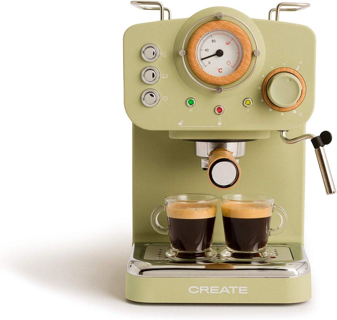 IKOHS THERA Retro - Cafetera Express para Espresso y Cappucino, 1100W, 15 Bares, Vaporizador Orientable, Capacidad 1.25l, Café Molido y Monodosis, con Doble Salida (Verde Mate)
