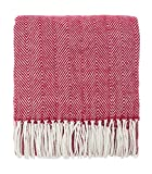 Fennco Styles Herringbone Collection Contemporary Fringed 50 x 60 Inch Throw - Red Throw Blanket for Couch, Bedroom and Living Room Décor
