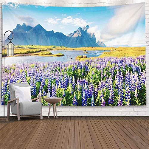 Tapiz para dormitorio, tapiz para pared, tapiz para colgar en la pared, tapiz para exteriores, flores florecientes, colorido panorama de verano, costa islandesa, Batman, tapiz fresco para dormitorio,