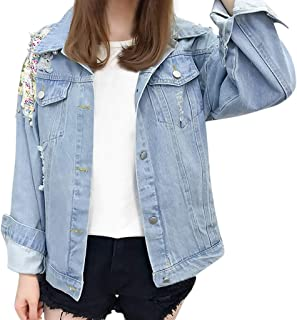 Womens Denim Jacket Long Sleeve Fashion Beading Button Up Denim Jean Jacket Overcoat with Pockets