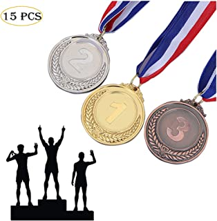 Haploon 15 Pcs Winner Gold Silver Bronze Medals, Olympic Style Medal Award Medals Bulk, Metal Acheivment Medal for Kids Youth