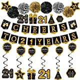 21st Birthday Decorations for him - (21pack) Cheers to 21 Years Black Gold Glitter Banner for him her, 6 Paper Poms, 6 Hanging Swirl, 7 Decorations Stickers. 21 Years Old Party Supplies Gifts for him