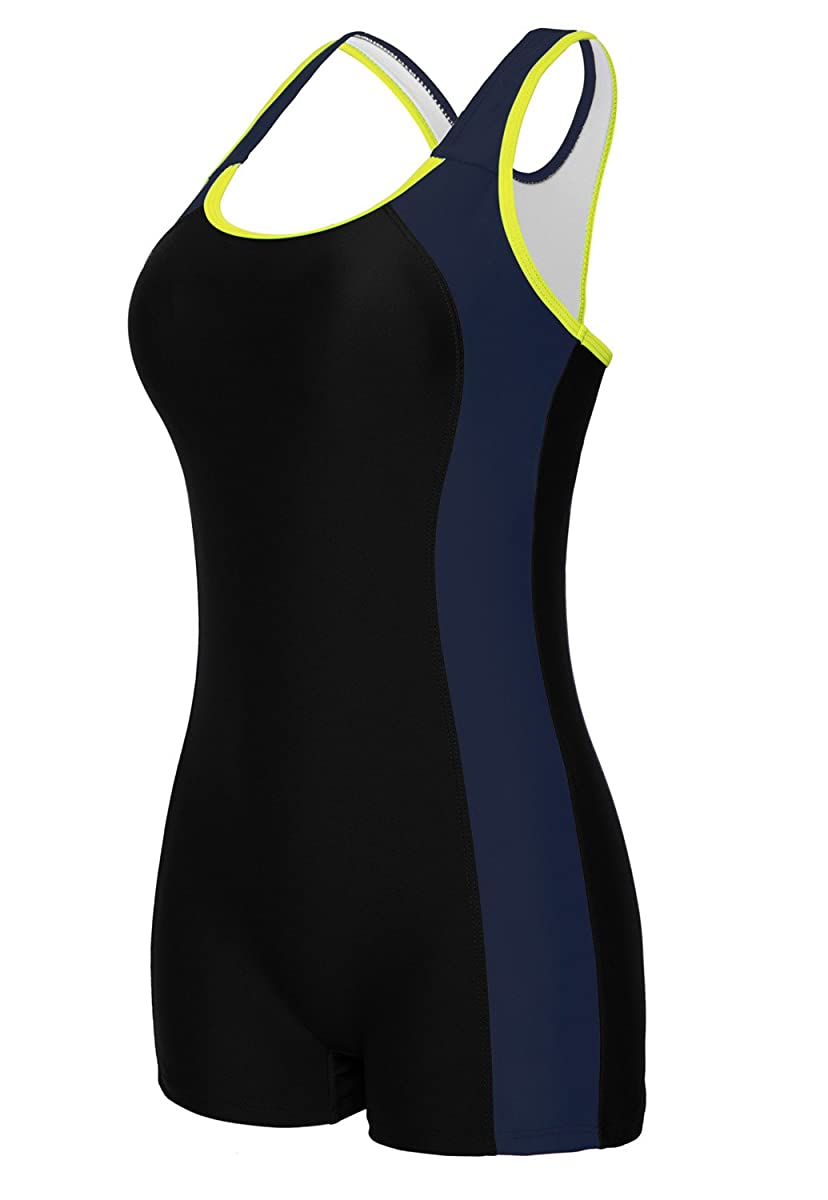 beautyin Women's Swimsuit Boyleg Racerback One Piece Athletic Bathing Suit
