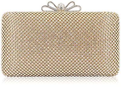 Dexmay Bling Rhinestone Crystal Clutch Purse Bow Clasp Women Evening Bag for Bridesmaid Wedding Party