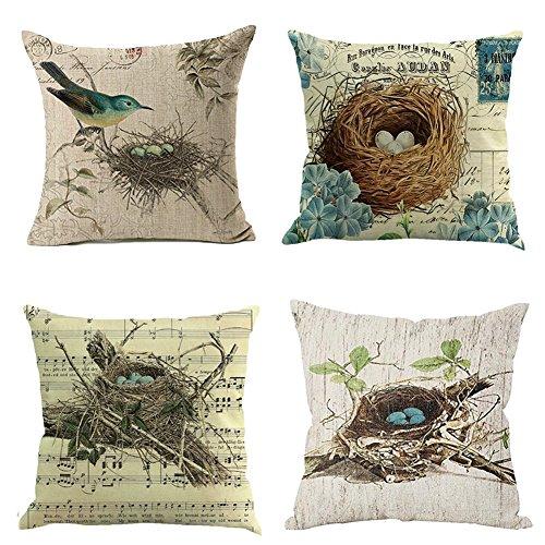 Qinqingo Vintage Bird's Nest Throw Pillow Covers Cotton Linen 18' x 18' Square Decorative Throw Pillow Case Cushion Cover (Bird Nest Set)