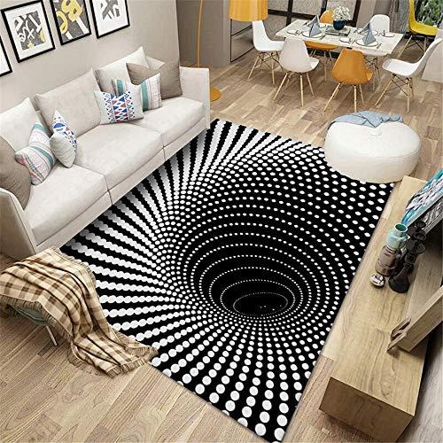 Kunsen Balkon Teppich Wohnzimmer Teppich 3D Whirlpool schwarz und weiß, schmutzabweisend, weich, rutschfest antirutsch Teppich Rugs Washable