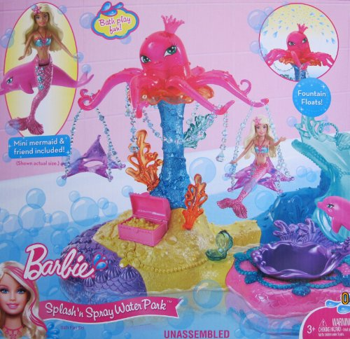 Barbie SPLASH 'N SPRAY WATER PARK Bath Playset w Mini Mermaid, Dolphin Friend & MORE! (2010)