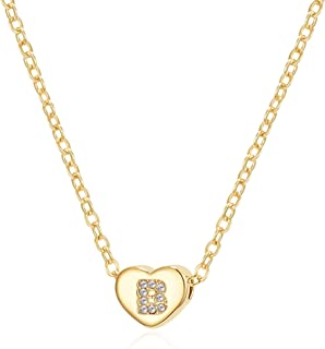 Harlermoon Heart Initial Necklace Letter A to Z 26 Alphabet Pendant Necklace 14K Gold Filled Handmade Dainty Choker Jewelr...