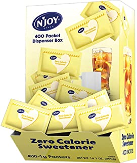 N'Joy Zero Calorie Sweetener, Yellow Sucralose Packets, Kosher, Gluten Free and Sodium Free, 400 Count
