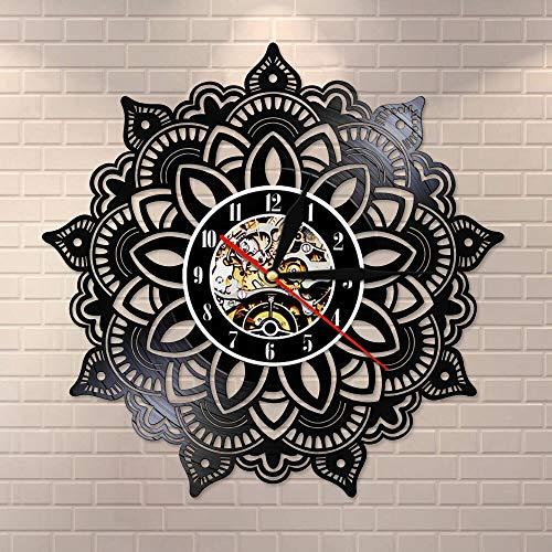 BFMBCHDJ Mandala Blume Silent Quartz Vinyl Schallplatte Wanduhr Indisches Schlafzimmer Kunst Dekorative Uhr Mandala Samen Satori Yoga Souvenir Geschenk Mit LED 12 Zoll