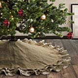 Meriwoods Burlap Christmas Tree Skirt 48 Inch, Large Natural Jute Tree Collar with Ruffled...