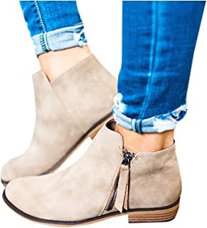 Boots for Women Ankle Booties Low Heel Western Side Zipper Pointed Toe Solid Color