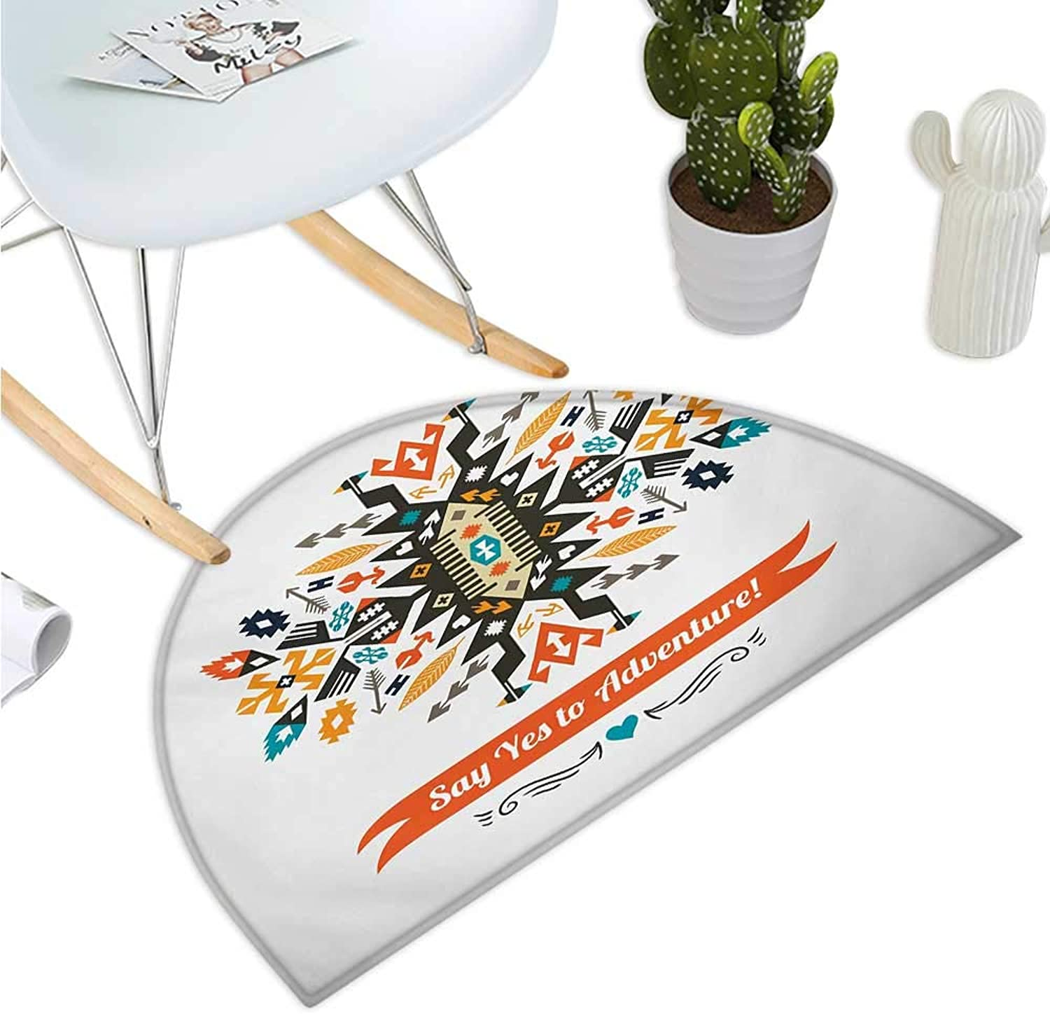 Tribal Semicircular Cushion Modern Design with Ethnic Details Yes to Adventure Quoted White Backdrop Artwork Halfmoon doormats H 35.4  xD 53.1  Multicolor