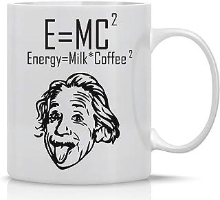E=MC2 - 11oz Ceramic Coffee Mug - Einstein Theory Formula - Energy Equals Milk Plus Coffee - Funny Office Gifts For Scient...