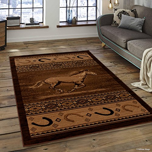 "Allstar 8 X 11 Berber Woven Soft Southwest Horse Shoe Theme Area Rug (7' 7"" X 10' 6"")"