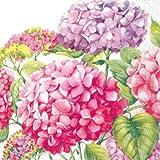 Ideal Home Range - 20 Servilletas de papel decoupage 3 capas, 33x33 cm, multicolor con tema floral, Hortensias rosas