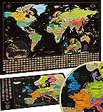 Carte du Monde à gratter XXL - Carte du Monde en Poster Extra Large et Personnalisé+ Carte à gratter de l'Europe en Bonus. Inclut un Tube Cadeau Deluxe Personnalisé et 2 Cartes Détaillées
