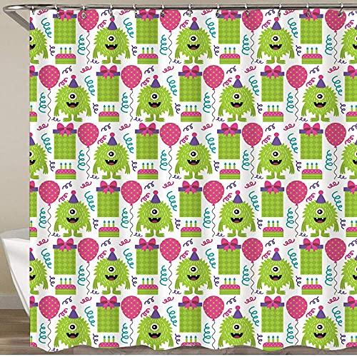 Cortina de ducha impermeable, diseño de vector de diseño de patrón de monstruo, cortinas de baño de tela de poliéster lavable a máquina duraderas con 12 ganchos, decoración de baño de casa para bañera