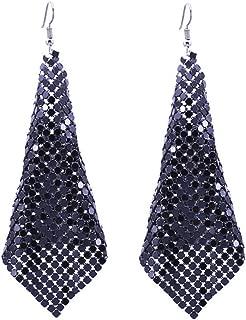 Lightweight Mesh Sequins Tassel Drop Dangle Earrings Long Hook Trendy Earrings for Women Girls