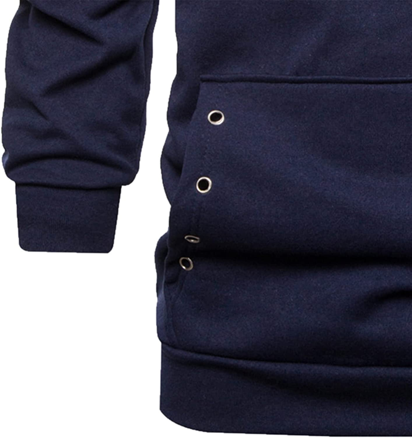 HONGJ Tunic Hoodies for Mens, 2021 Solid Color Drawstring Pullover Fashion Hooded Sweatshirts with Hollow Ring Pocket