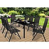 Deuba Sitzgruppe Bern 8+1 Aluminium 7-Fach verstellbare Hochlehner Stühle Tisch mit Sicherheitsglas Anthrazit Garten Set - 3