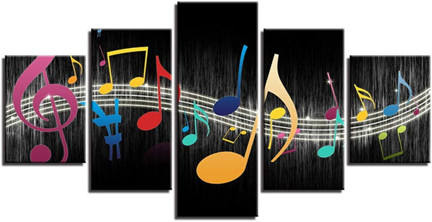 Loiazh  Image Printed On Non Woven Canvas  Wall Art Print Picture  Photo  5 Pieces  Frameless  Smart Sheet Music 55x22 45x20x2 35x20x2(cm)