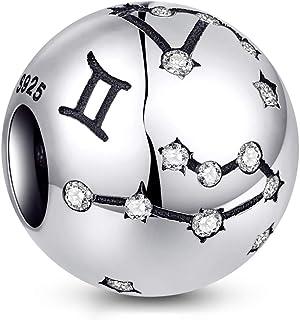 NINGAN Zodiac Star Sign 925 Sterling Silver Bead Charm Fits Pandora, Chamilia & European Charm Bracelets & Necklaces