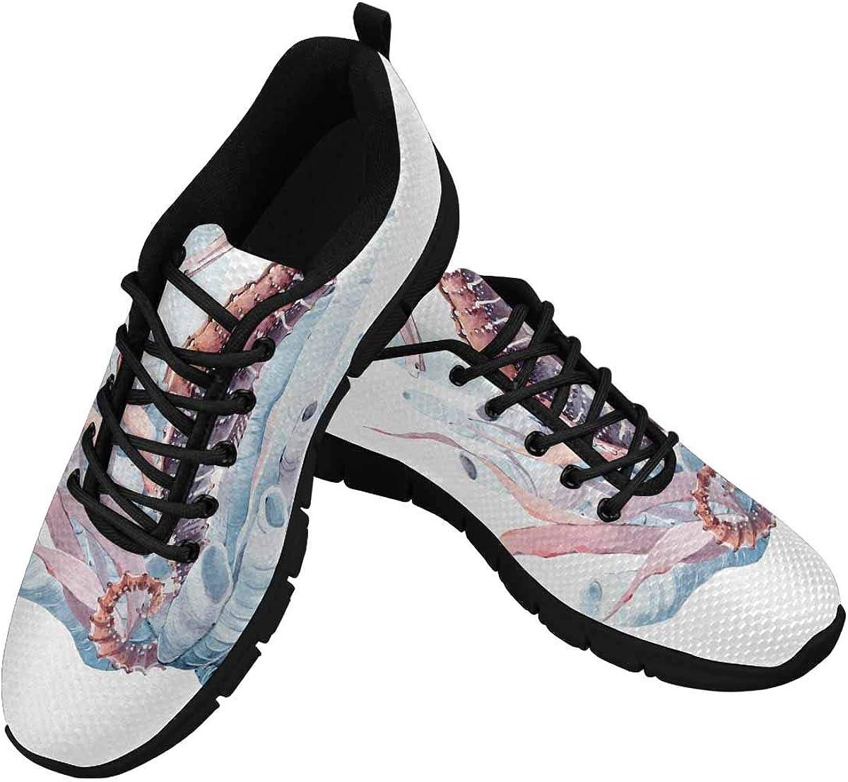 InterestPrint Hand Drawn Watercolor Seahorse Women's Athletic Walking Shoes Comfort Mesh Non Slip
