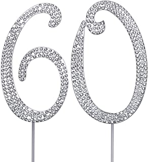 """MAGJUCHE Silver 60"""" Crystal Cake Topper, Number 60 Rhinestones 60th Birthday Cake Topper, Men or Women Birthday or 60th An..."""