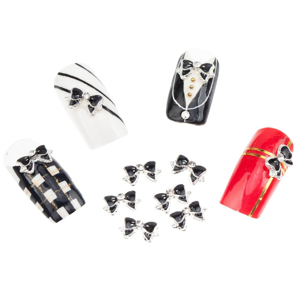 Amazing Set of 10 Black Silver Bow Ties Nail 3D Max 74% OFF Art D Manicure low-pricing