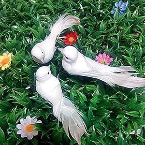 LVA Gardens Estatuas - Mini Simulación Pigeon Hogar Jardines Estatua DIY Decorativo Artificial Carfts Pigeons extraíble Adornos Pájaros Escultura, Rosso, United States