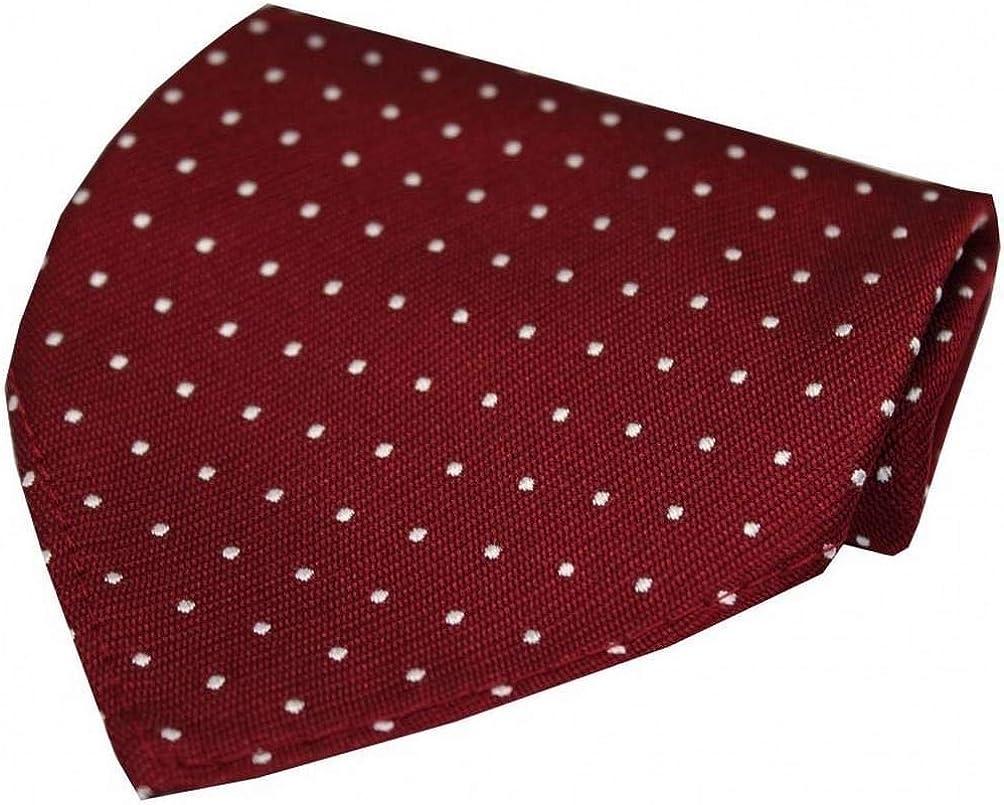 David Van Hagen Mens Pin Dot Luxury Silk Handkerchief - Wine Red/White