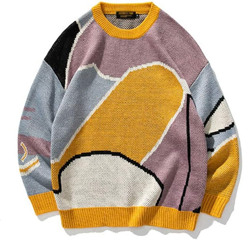 TWDYC Youth Men Cartoon Winter Wool Sweater Pullover Mens Knitted Sweater Women Korean Casual Clothes (Color : Yellow, Size : L-length-70CM)