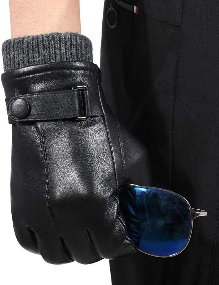 Mens Genuine Leather Gloves Winter Warm Touchscreen Driving Dress Gloves With Soft Fleece Lining Genuine Lambskin Leather Silk Lined Gloves Black Gloves Mittens ( Color : Black , Size : Medium )