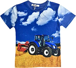 Blockstreifen Langarmshirt Traktor blauer Trecker Farmer Landwirt