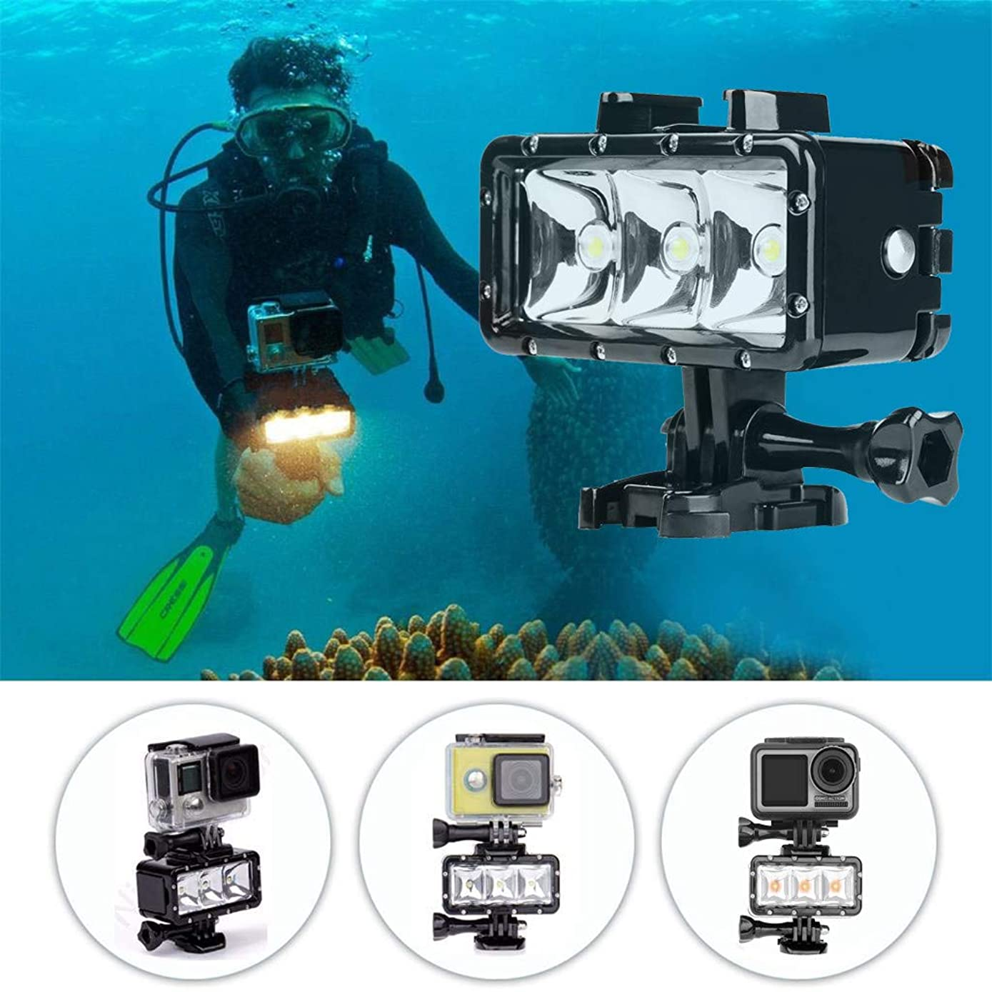 Lljin for DJI Osmo Action 40m Waterproof 3LED Diving Fill Light Underwater Flashlight
