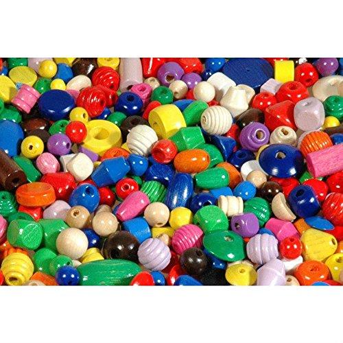Piccolino Bastelbedarf 1000 Holzkugeln, Holzperlen, Holzwürfel farbig zum Fädeln & Schmuck basteln - Perlen aus Holz bunt Größen (1-2cm), 1 kg