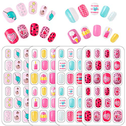 96 Pcs Fake Nails for Kids, Girls Press...