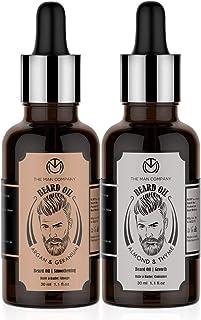 The Man Company Double Beard Care | Almond & Thyme Beard oil 30ml, Argan &Geranium Beard Oil 30ml | Promotes Beard Growth,...