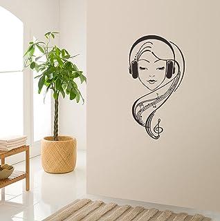 BIBITIME Music Staff Wall Decal Dancing Musical Notes Wallpaper Vinyl Sticker for Living Room Bedroom Window Nursery Kids ...